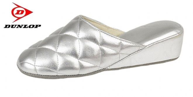 Dunlop Ladies Wedge Heel Mule Slippers, Silver
